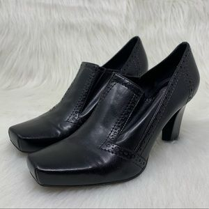 Franco Sarto Womens Black Leather Oxford Heel 9.5